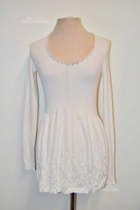 T-shirt Long Woman Stefanel White Size L Viscose Polyester