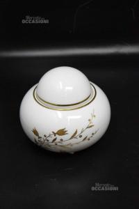 Vasetto In Ceramica Basso Scherzer Bavaria Germany Bianco Con Fiori Color Oro 13 Cm