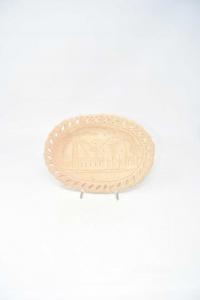 Plate Souvenir Terracotta With Camel,oval 23x17 Cm