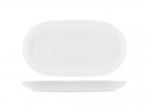 Piatto In Porcellana Oslo Bianco Ovale Cm15