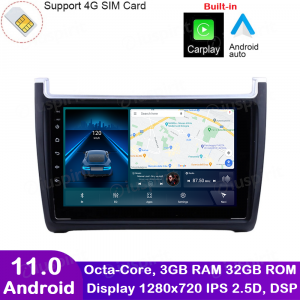 ANDROID autoradio navigatore per VW Polo 2009-2015 CarPlay Android Auto GPS USB WI-FI Bluetooth 4G LTE