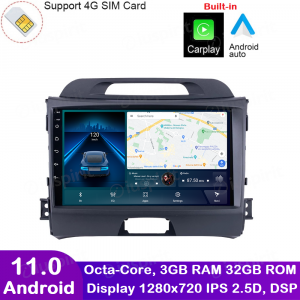 ANDROID autoradio navigatore per Kia Sportage 2010-2015 CarPlay Android Auto GPS USB WI-FI Bluetooth 4G LTE