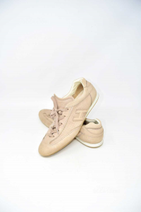 Shoes Woman Hogan N° 41 Beige In Leather
