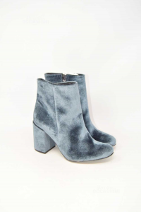 Ankle Boots Another Vellutati N° 38 Blue Heel 9 Cm New