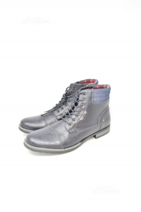 Ankle Boots Man Riflessi Urbani Black N° 45 True Leather,bordo In Jeans New