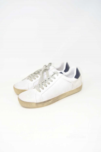 Shoes Man White Sneakers Riflessi Urbani Faux Leather New N° 41
