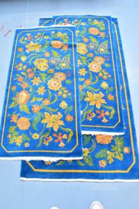 Tris Carpets Rug Blue Oil Floral 62x130 Cm 2 Pcs + 82x160 Cm