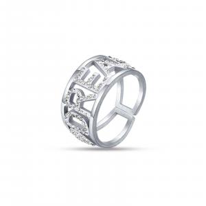Luca Barra - Anello in acciaio dream con cristalli bianchi