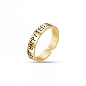 Luca Barra - Anello in acciaio gold be happy feel good