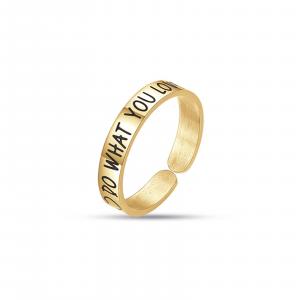 Luca Barra - Anello in acciaio gold do what you love