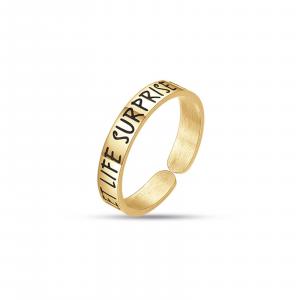Luca Barra - Anello in acciaio gold let life surprise you