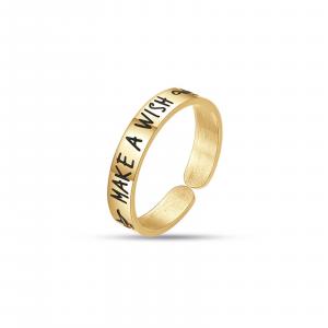Luca Barra - Anello in acciaio gold make a wish