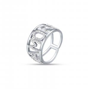 Luca Barra - Anello in acciaio amore con cristalli bianchi