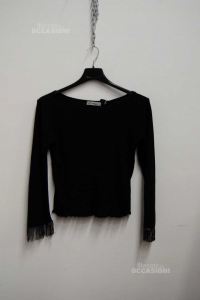T-shirt Woman Metaphor Black,sleeves Bordate Of Beads