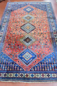 Carpet Persian Wool Red Blue 245x152 With Certificate
