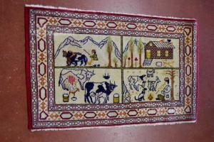 Carpet Persian With Scenes Of Farm 95x60 Cm