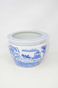 Flower Vase Ceramic White Blue Style Japanese 25x17 Cm