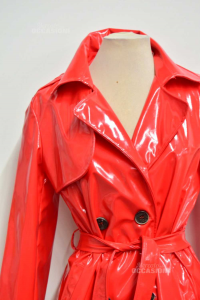 Trench Donna F Collection Lungo Rosso Vernice Tg L
