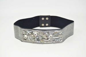 Cintura Argentata Elastica Con Perline