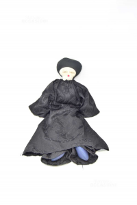 Bambola Pierrot In Stoffa Nera Vintage Che Piange