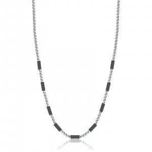 Luca Barra - Collana in acciaio con elementi in acciaio ip nero