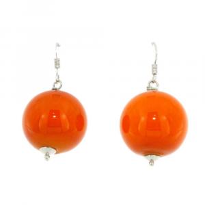 Orecchini artigianali in vetro di Murano PIANETI arancione Mercurio