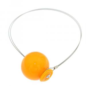 Collana artigianale di design in vetro di Murano PIANETI giallo Sole