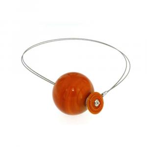 Collana artigianale di design in vetro di Murano PIANETI arancione Mercurio