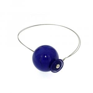 Collana artigianale di design in vetro di Murano PIANETI blu Urano