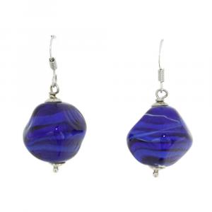 Orecchini artigianali di design in vetro di Murano STONE blu