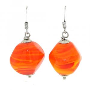 Orecchini artigianali di design in vetro di Murano STONE arancio