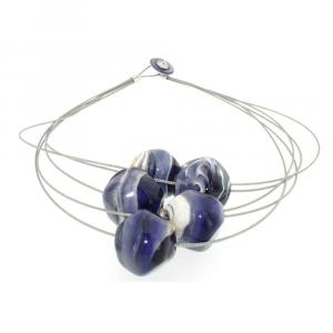 Collana artigianale di design in vetro di Murano STONE5 viola