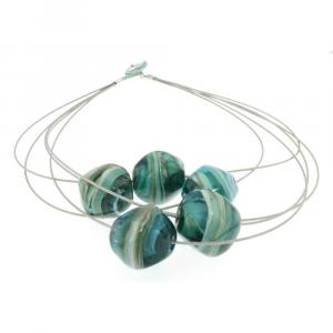Collana artigianale di design in vetro di Murano STONE5 azzurro acqua