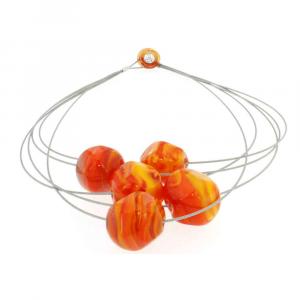 Collana artigianale di design in vetro di Murano STONE5 arancio