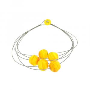 Collana artigianale in vetro di Murano STONE5 giallo