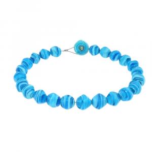 Collana artigianale perle in vetro di Murano originale STONE azzurro