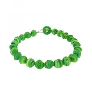 Collana artigianale perle in vetro di Murano originale STONE verde