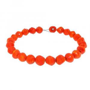 Collana artigianale perle in vetro di Murano originale STONE arancione