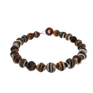 Collana artigianale perle in vetro di Murano originale STONE caramel