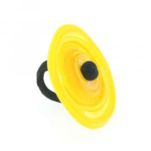 Anello artigianale in vetro di Murano 3° CHAKRA XL misura unica giallo