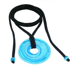 Pendente artigianale in vetro di Murano collana 5° CHAKRA azzurro