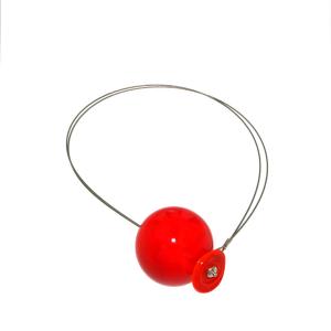 Collana artigianale di design in vetro di Murano PIANETI rosso Giove