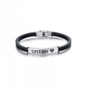 Luca Barra - Bracciale in cuoio nero con piastra in acciaio super papà