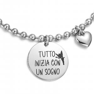 Luca Barra - Bracciale con scritta tutto inizia con un sogno