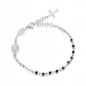 Luca Barra - Bracciale rosario in acciaio con cristalli neri