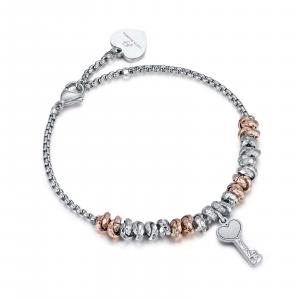 Luca Barra - Bracciale in acciaio con elementi rose chiave con cristalli bianchi