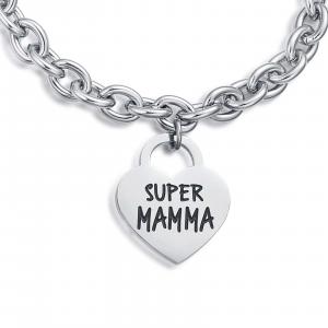 Luca Barra - Bracciale in acciaio con cuore super mamma