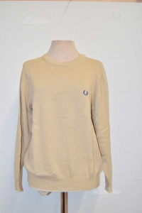 Sweater Man Fred Perry Size.m Beige 100% Cotton