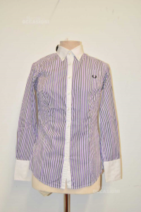 Shirt Woman Fred Perry Lines White Purple Size.m