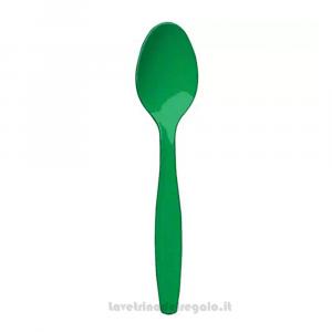 24 pz - Cucchiai verdi in plastica - Party tavola